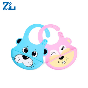 Custom Color silicone teething bib Waterproof Food Catcher Silicone Baby Bib silicone roll up bib