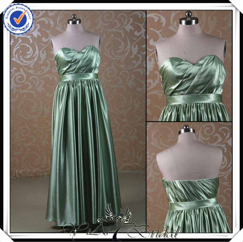 PP0115 Real Sample Long olive green country fat bridesmaid dress line