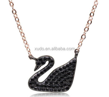 free shipping hot sale real gold plated swan pendant necklace