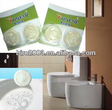 SGS Report Cheap & Fine 2pcs*50g Foam Rich White Toilet Desodorizador Tablete Plus Bleach Continuous Cleaning Action Scrub Free