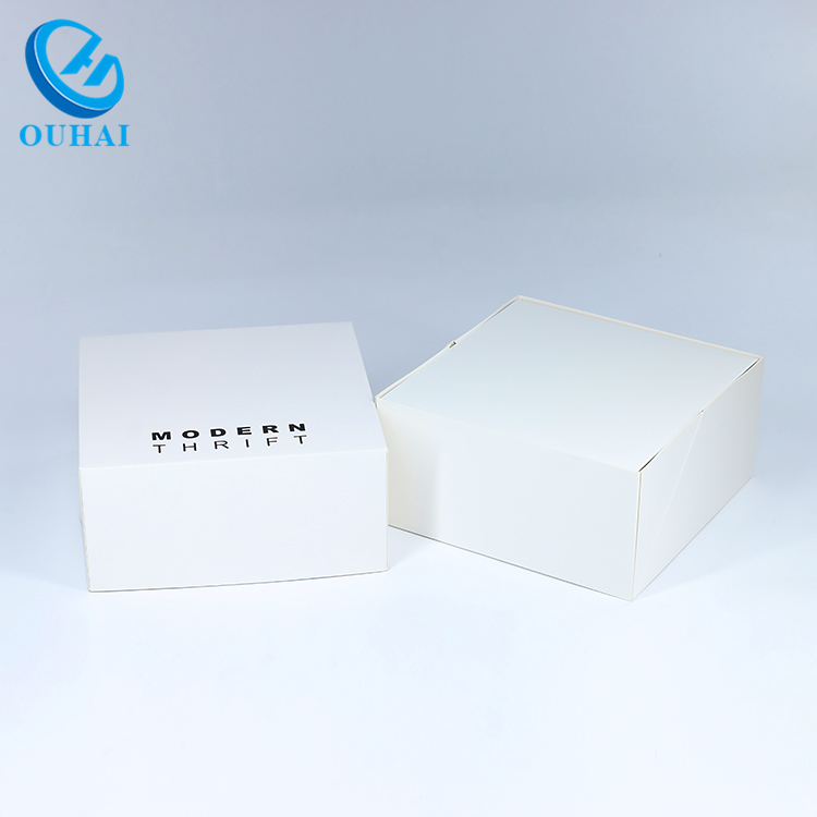 Custom Logo Printed Square White Cardboard Gift Box With Lids