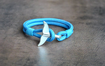 Hot Blue Dolphin Whale Tail Mens Survival Paracord Nautical Armband Bracelet