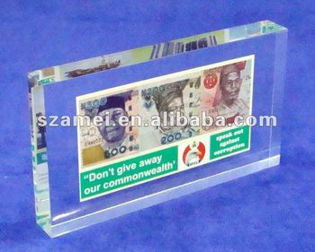 acrylic banknote/money paperweight