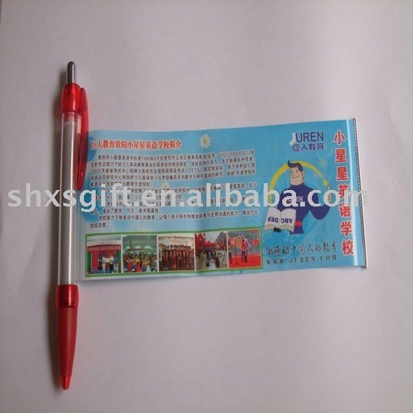 Promotional pen with advertisment paper