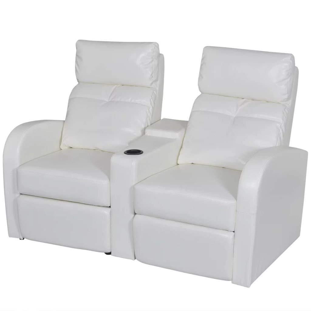 vidaXL White Artificial Leather 2-Seat Home Theater Recliner Sofa Lounge w/Cup Holder