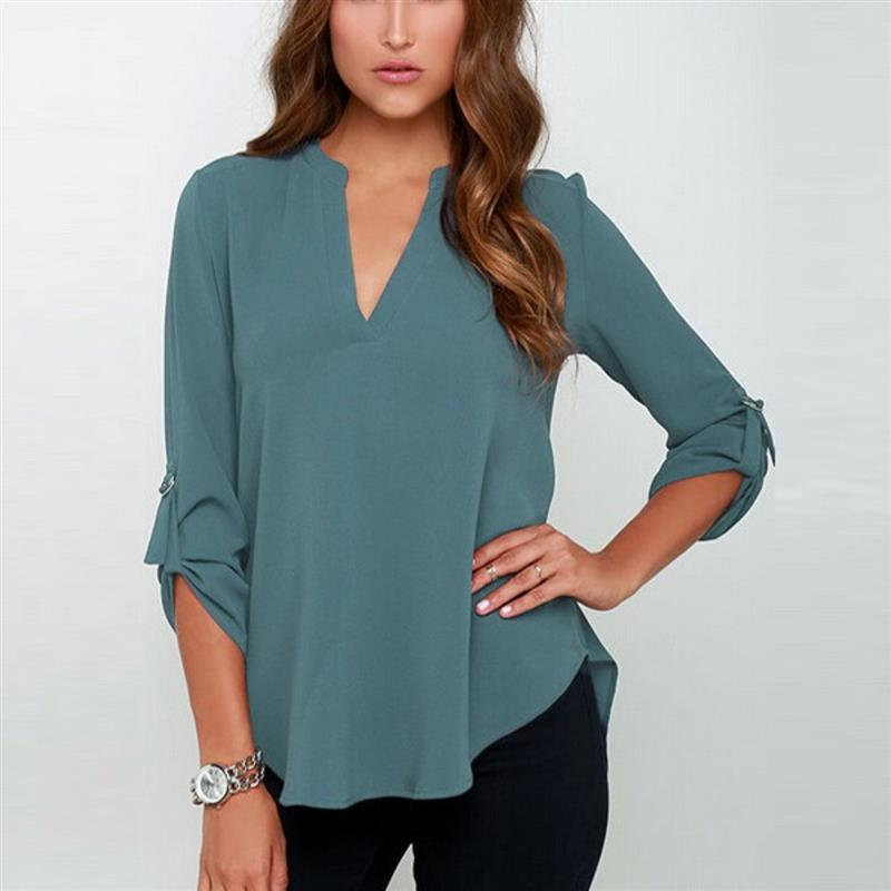 c022dd5f990 2019 Foreign Trade Women Blouse New Explosion Models Blusa V Neck ...