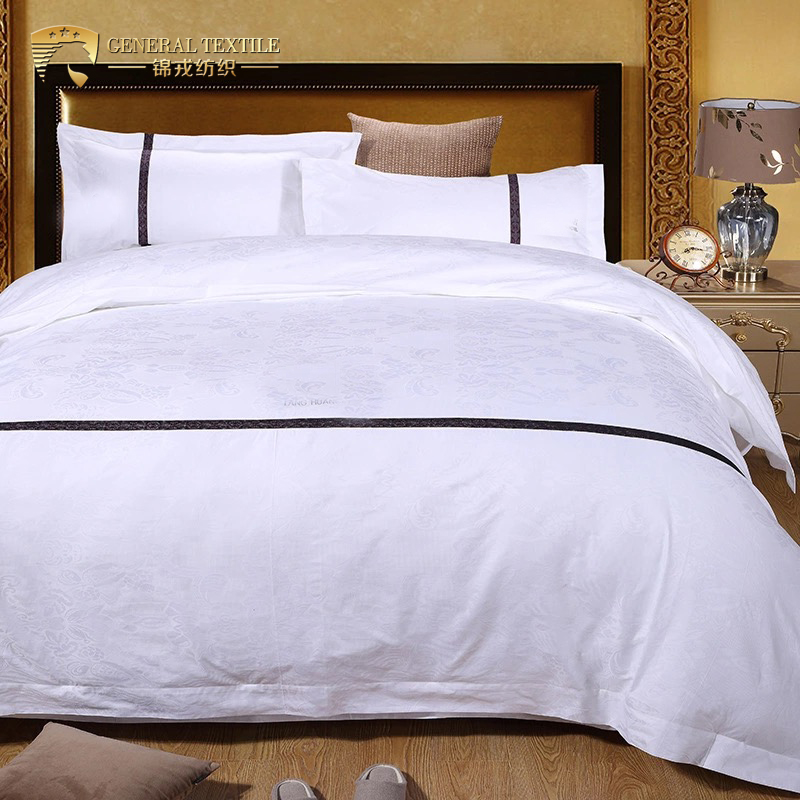 Hot Selling 100% Cotton Jacquard Design White Hotel Bedding Sheet Set Bed Cover