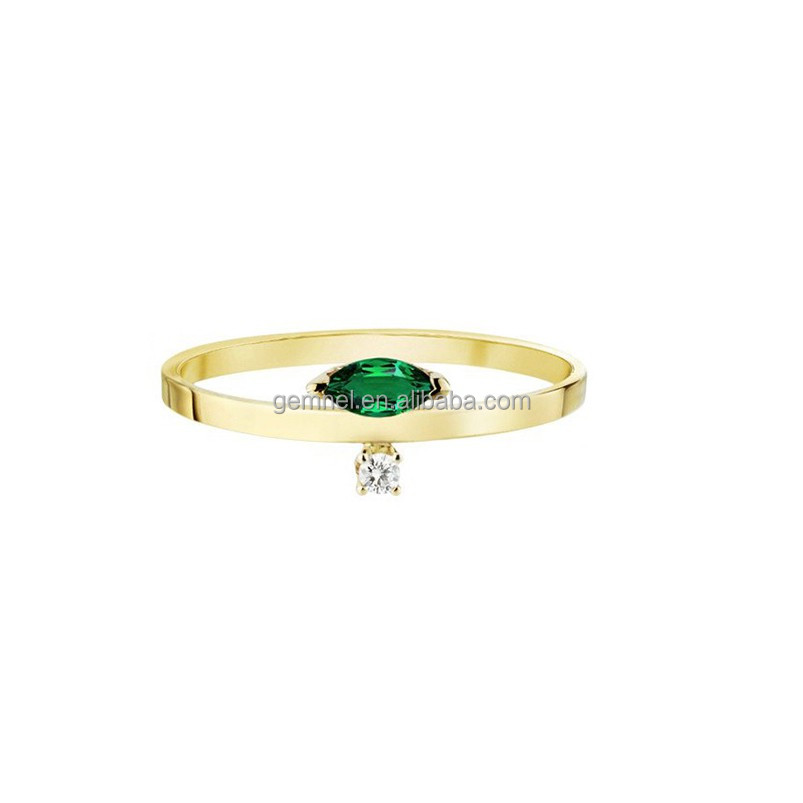 14k gold jewelry wholesale fashion marquise emerald eye shape ring