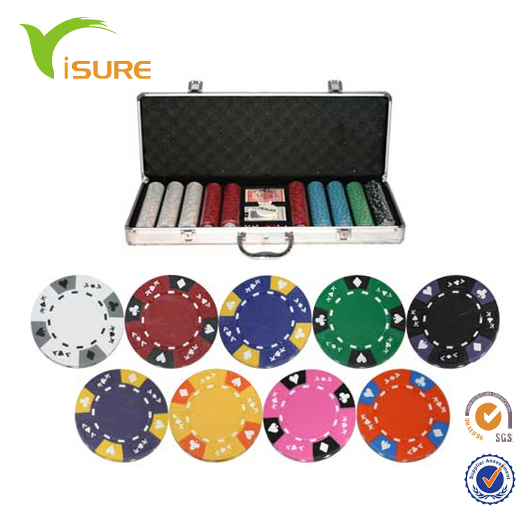 Goedkope Custom Poker Game Set 500 stks Kleur Chips Clay Poker Chip Set Voor Casino