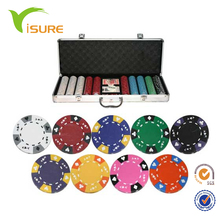 <span class=keywords><strong>Goedkope</strong></span> Custom Poker Game Set 500 stks Kleur Chips Clay Poker Chip Set Voor Casino