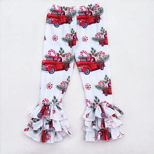 Wholesale Triple Ruffle Baby Trousers Christmas girs Icing Leggings Children Colored Pants Christmas truck printed pants fashion