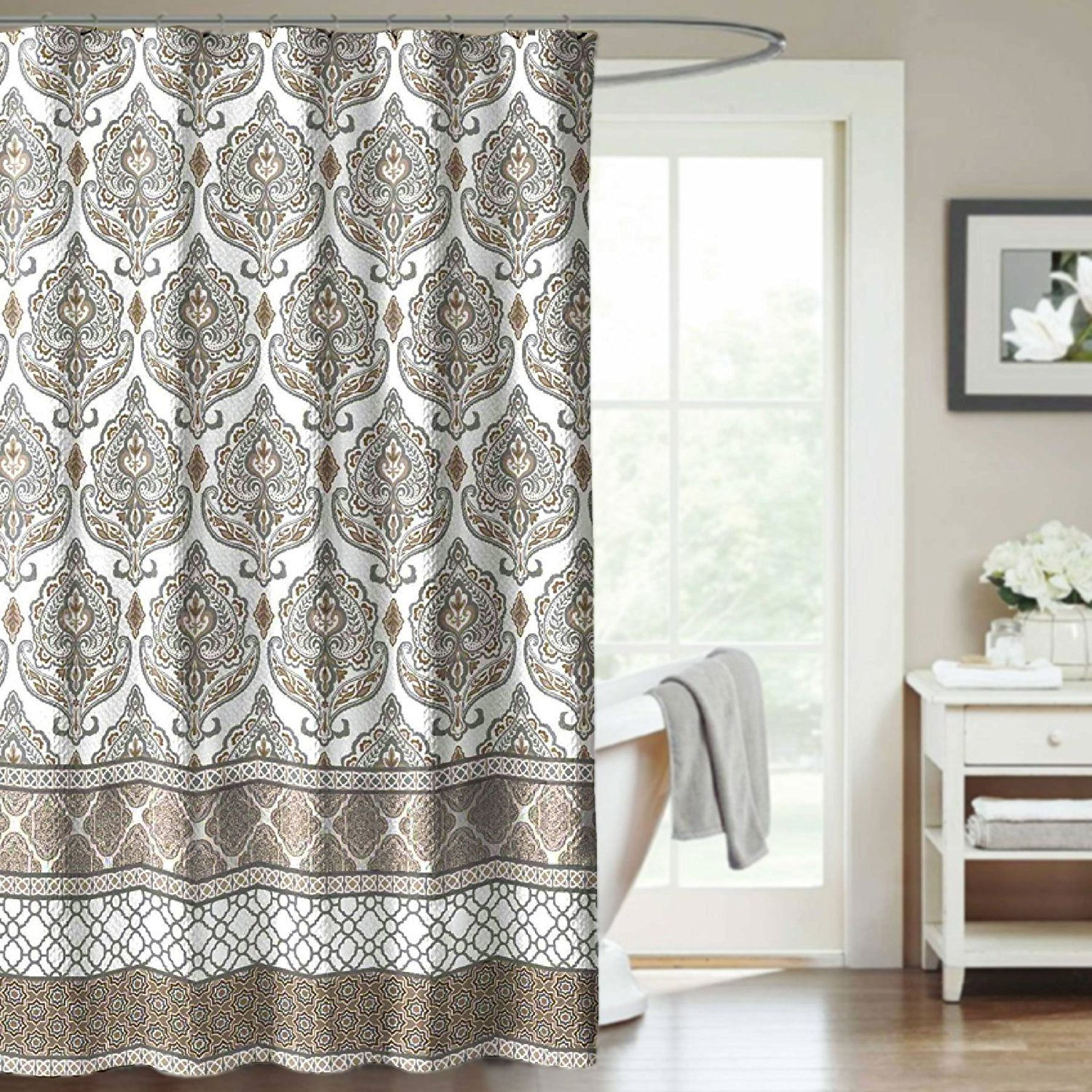 Shower Curtain Damask Medallion Tan And Gray Filigree Decorative Fabric  Bathroom