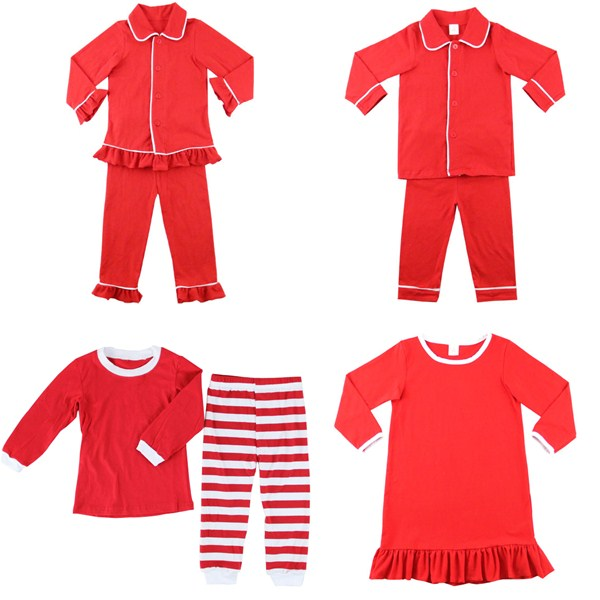 Boutique Toddler Kids Button Up Red Night Gown Dress Family ...