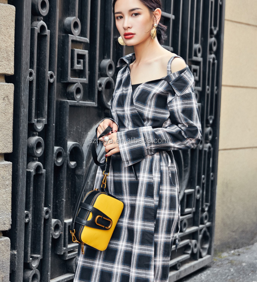Women Lady white and black Plaid Check Shirt Dress spring casual Long Sleeve shirt dress for women