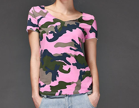 0bf72ba1 Women's Pink Blue Green Dry Fit Camo V-neck Camouflage T-shirt ...