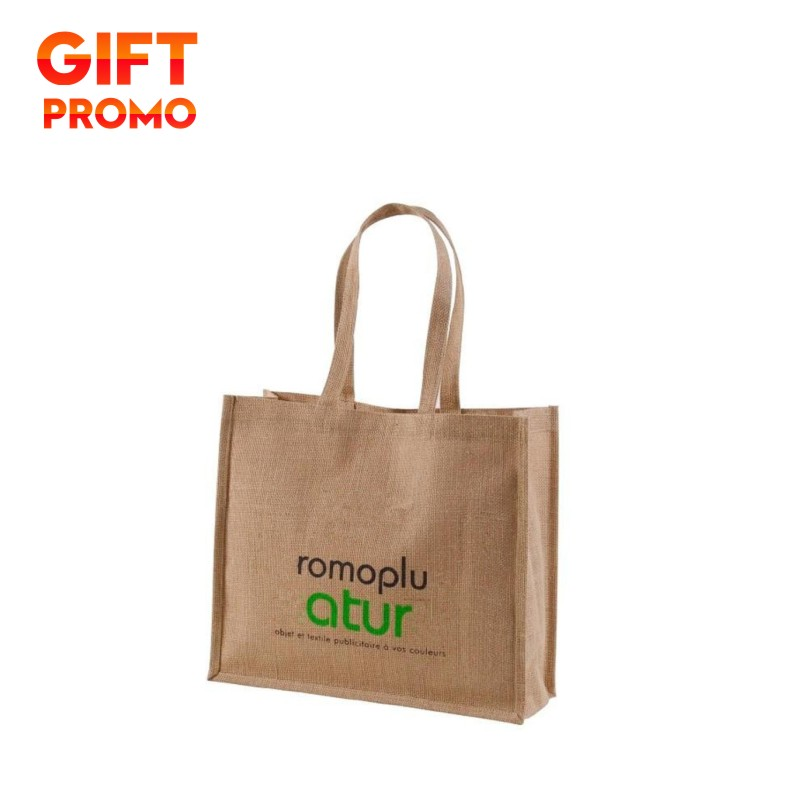 Promotion Jute Coffee Clutch Bag With Zipper