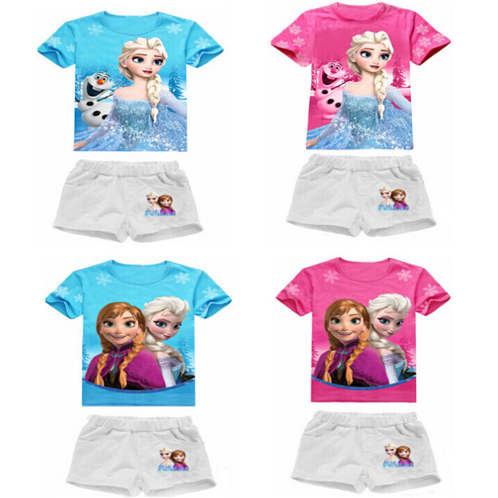 2016 New High Quality Summer Baby Girls Elsa Anna Clothes Sports Suit Short Sleeve T shirt