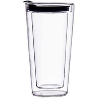 High Quality Clear 12oz Glass Travel Mug Double Wall Tumbler With Cap Glass Coffee Mug With Lids