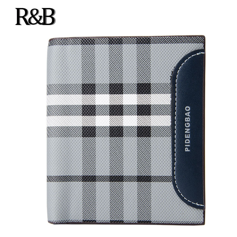 Famous brand Short Wallets High Quality PU leather Standard Wallets Classic Fashion Male Plaid Coin Purse Pocket &Card Holder
