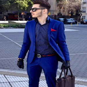 Custom Royal Blue Blazer Men Suits Slim Fit Business Suits Tailored Tuxedo Groomsman Wedding Suits 2 Pieces (Jacket+Pants)