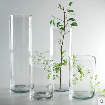 Simple Cheap Tall Home Wedding Decor Cylinder Flower Glass Vase