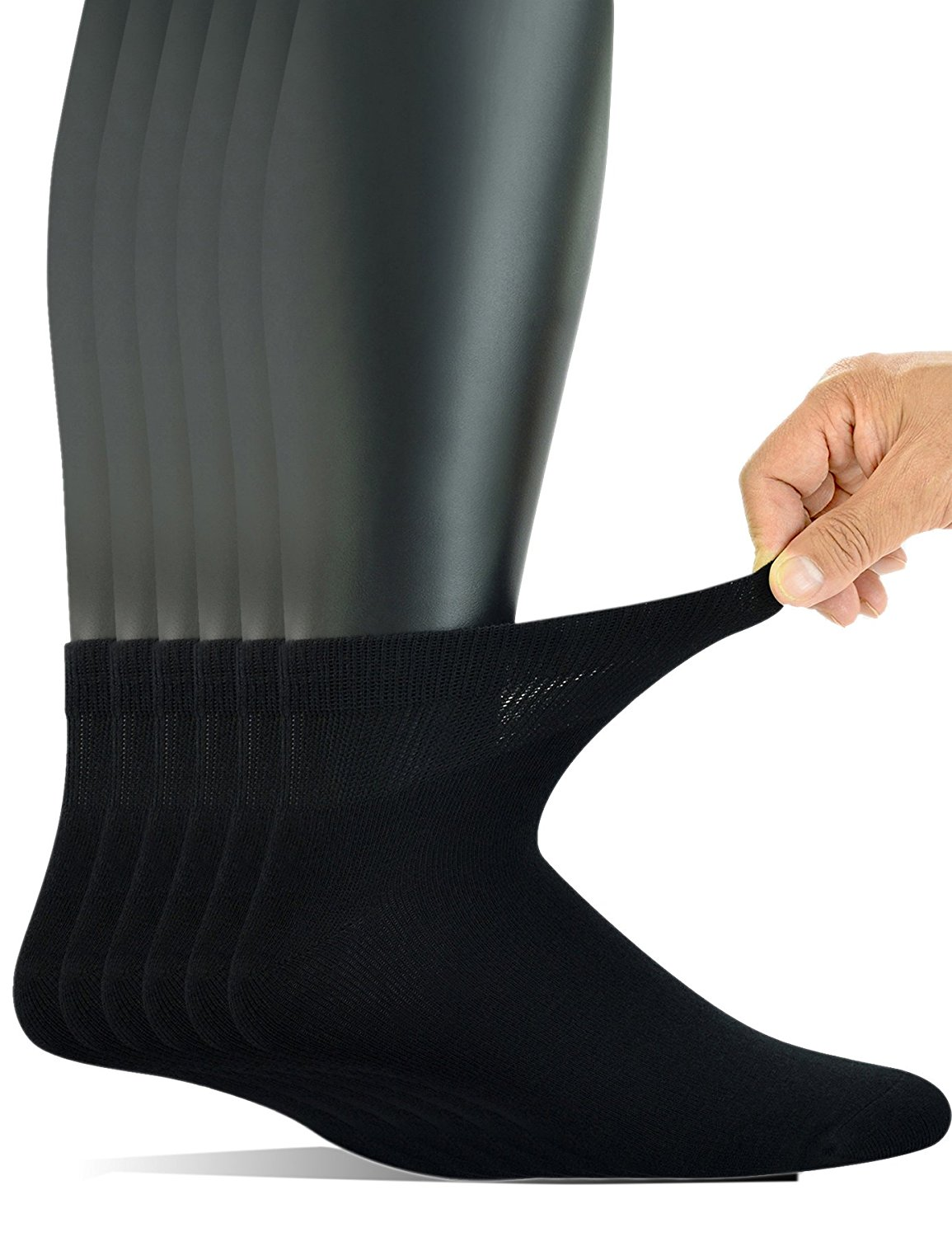 ab6119bfa666c Get Quotations · Yomandamor Men's 6 Pairs Combed Cotton Diabetic Ankle Socks  with Seamless Toe and Non-Binding