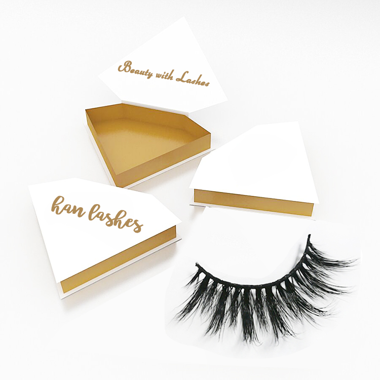 c2e1f31a79e Diamond shape eyelashes box 100% real mink fur eyelash cruelty free own  logo mink lashes with private label package