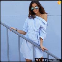 2017 fashion summer Europe stripe inclined shoulder shirt dress for women