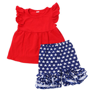Wholesale 4th of July boutique clothing red top and navy blue white stars ruffled pants sets frock design boutique clothes