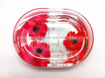 Clear Plastic Soap Dish Crystal Plate Acrylic Oval Dishes X Mas Gift