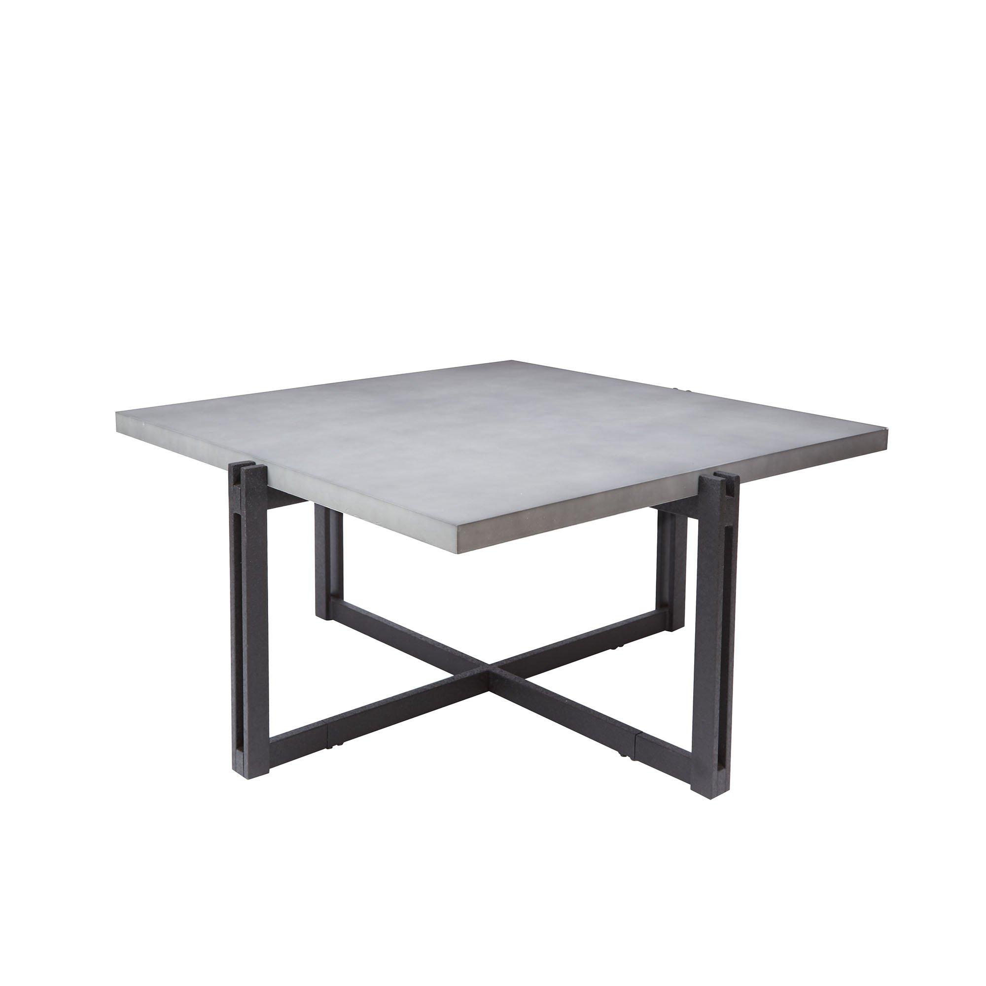 "Silverwood FT1275-COF-SCC Dakota Coffee Table with Square Concrete Finish Top, 39"" L x 39"" W x 19.25"" H, Concrete Grey"