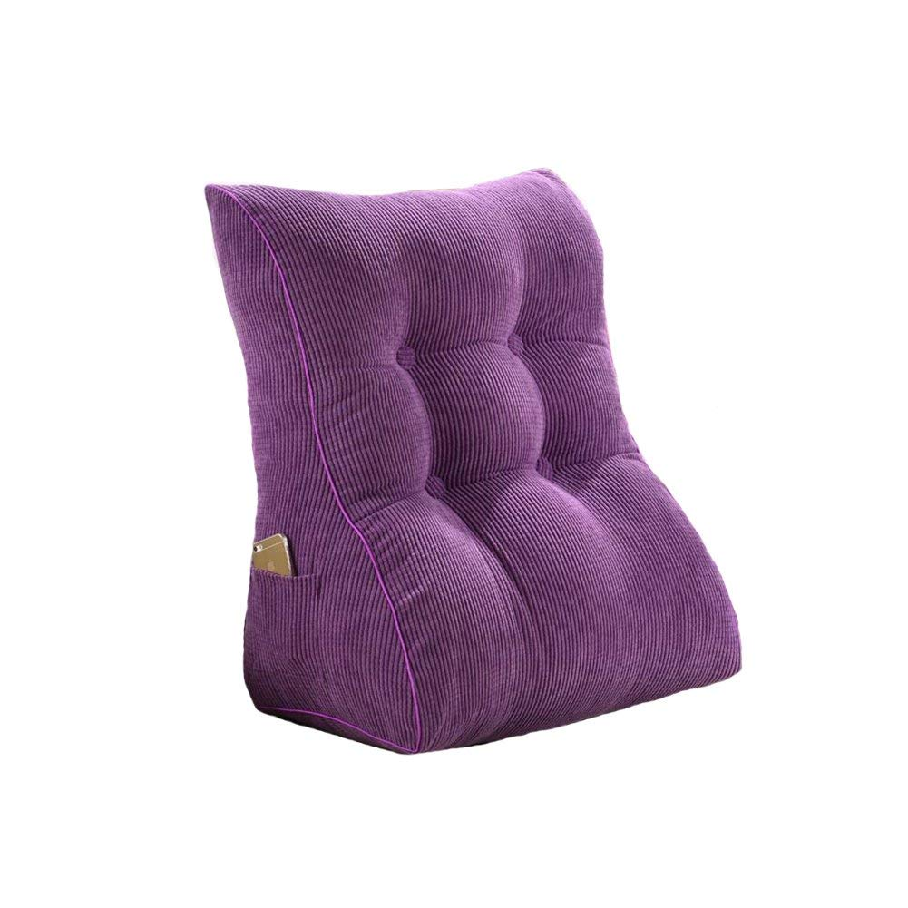 Dall Backrest Pillow Triangle Cushions Lumbar Pads Support Neck Pillow Fabrics Skin-Friendly Office Chair Sofa Washable Daybed Bedside Backrest (Color : Purple, Size : 55cm)
