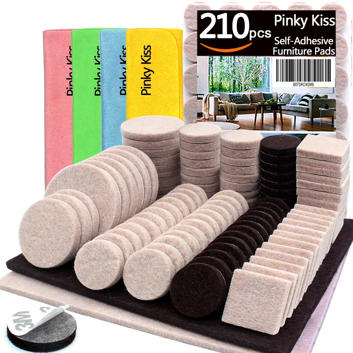 Furniture Pads 210 Pcs Self Adhesive Felt Heavy Duty 2 Colors Large Small
