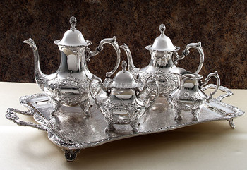 Ethnic Indian Sterling Silver plated Coffee u0026 Tea set with serving tray & Ethnic Indian Sterling Silver Plated Coffee u0026 Tea Set With Serving ...