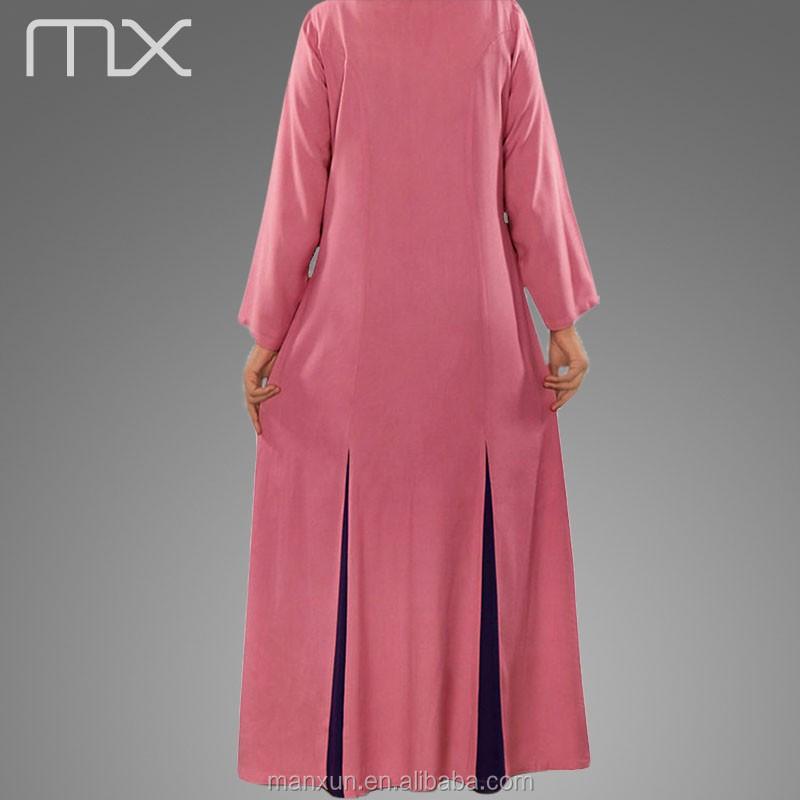 Roze arabische abaya dubai burka stijl met lange mouwen for Islamitische sportkleding vrouwen