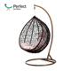 Garden outdoor used Wicker bamboo Egg shaped rattan swing chair hanging with cushions, standing egg chair