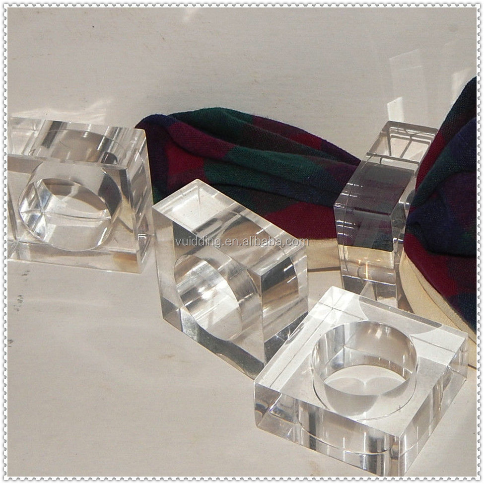 Clear Square Acrylic Napkin Ring For Table Decoration