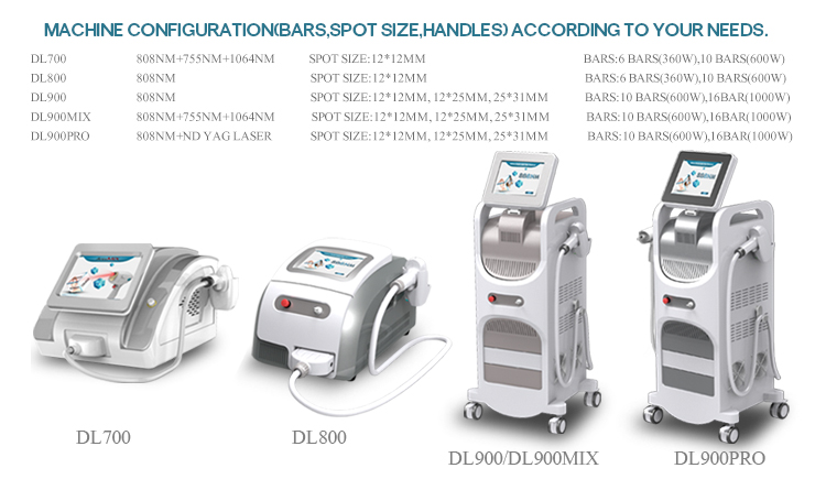 3 wavelength 755 808 1064 depilation laser hair removal machine diode laser hair removal equipment