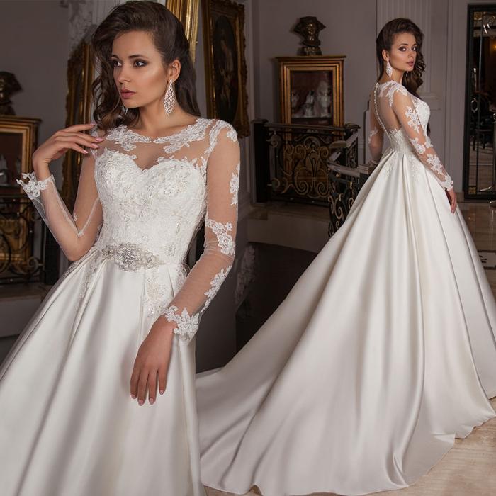 Elegant Simple Long Sleeve Wedding Dress: Aliexpress.com : Buy Simple Elegant See Through Lace Part