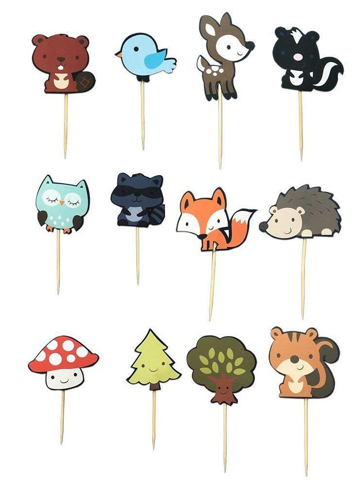 48 PCS Cute Woodland Animal Cupcake Toppers, Fineder Woodland Creatures Theme Cake Toppers for Birthday Wedding Party Decor Supplies