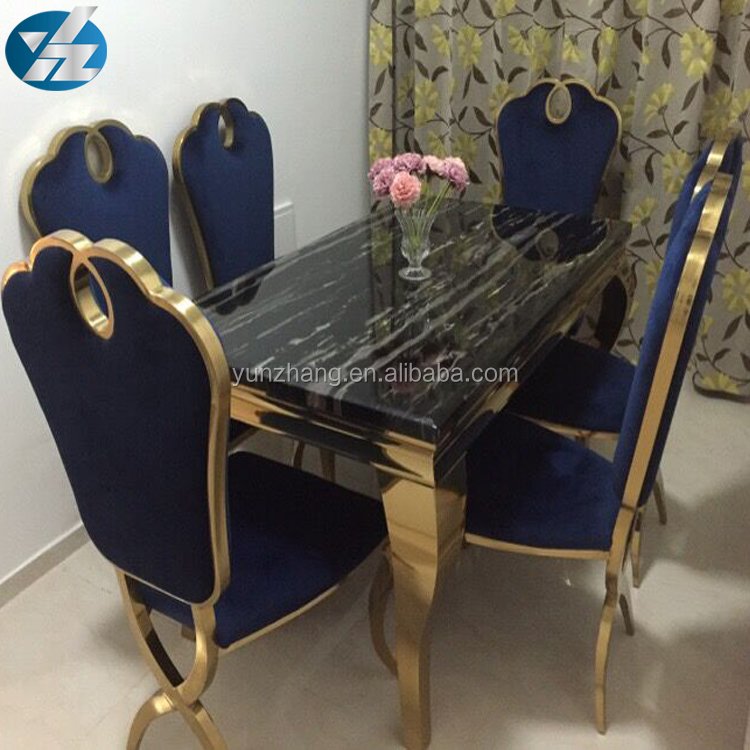 Black Long Square Marble Dining Table With 6 Chairs Set