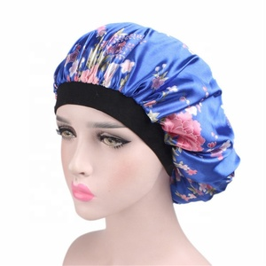 HZM-18116 Luxury Wide Band Satin Bonnet Cap Comfortable Night Sleep Hat Hair Loss Cap