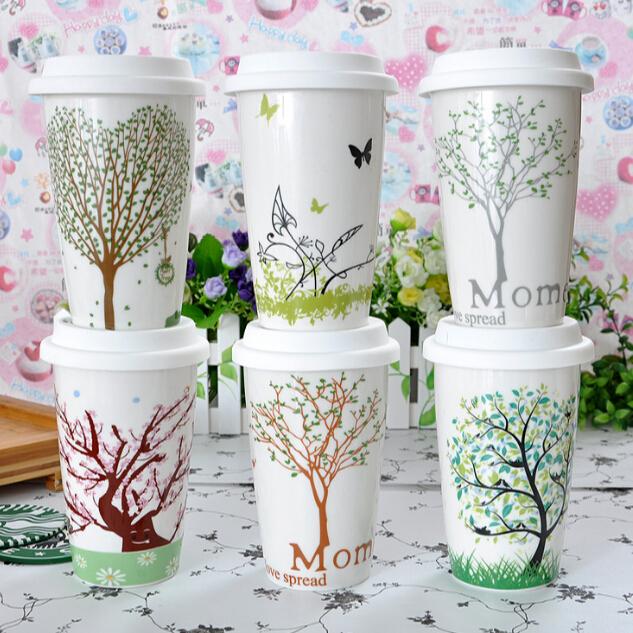 Haonai 360 ml, 12 OZ sinh thái gốm cấp thực phẩm silicone nắp đúp walled cup