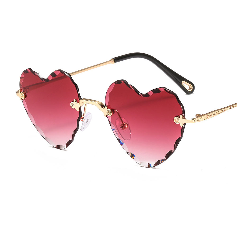 GUVIVI Heart shaped Hand polished sunglasses china Gradient color Rimless Glasses women's Frameless sunglasses фото