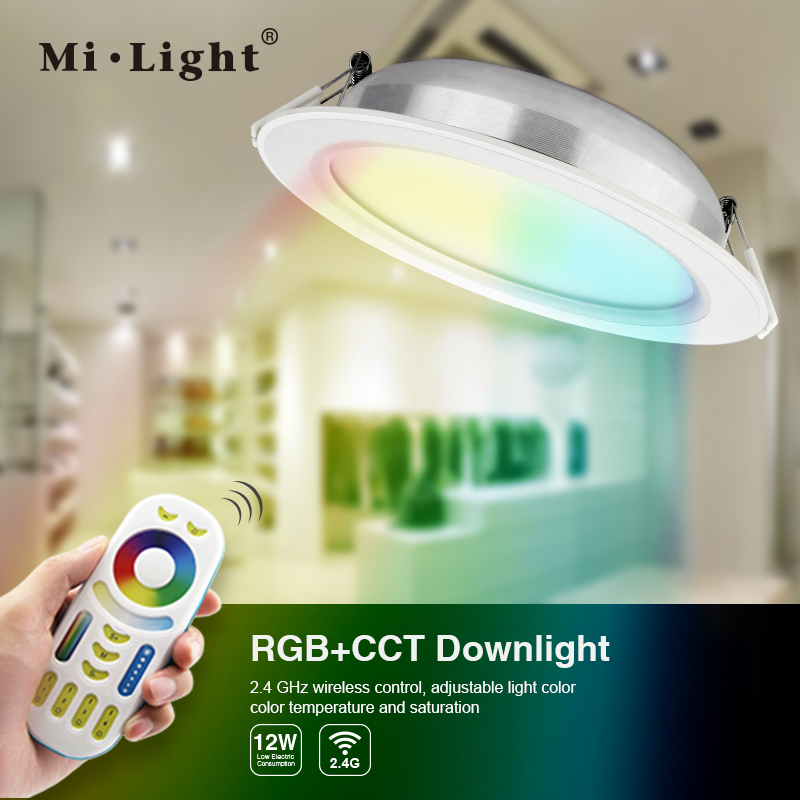 Mi.Light/FUT066;RGB+CCT <strong>Downlight</strong>;with Mi.Light-FUT092;2.4G RGB+CCT remote controller