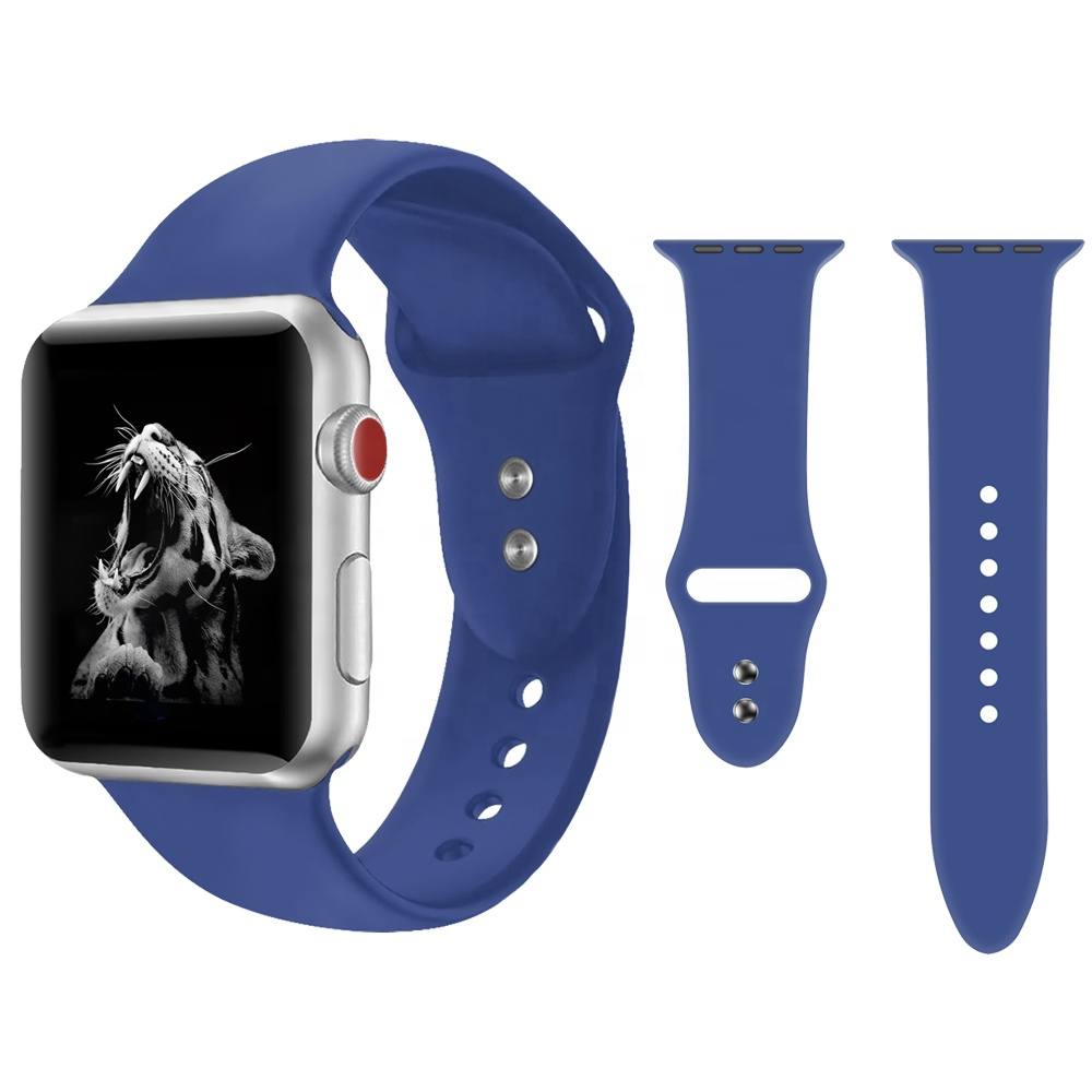 Alibaba.com / For Apple Watch Band 38MM 42MM 40MM 44MM, Replacement Silicone Rubber Watch Band Strap for Iwatch Sport Watch Band