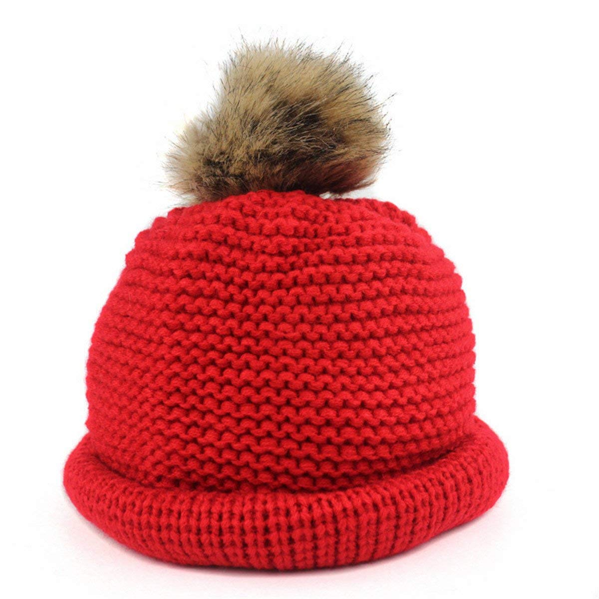 26e3763da99 Get Quotations · Qhome Kids Children Winter Slouchy Knit Beanie Chunky Real  Raccoon Bulb Pom Poms Hat Bobble Hat