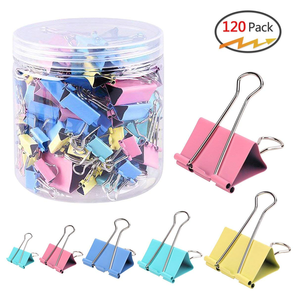 120 Pcs Binder Clips Paper Clamps Assorted 6 Sizes, Paper Binder Clips Metal Fold Back Clips with Box for Office,School and Home Supplies,Assorted Colors