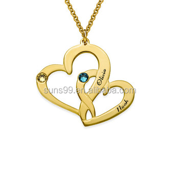 3584fcd66608 Stainless Steel Name Necklace Personalised Engraved Two Heart Necklace With  Gold Plating