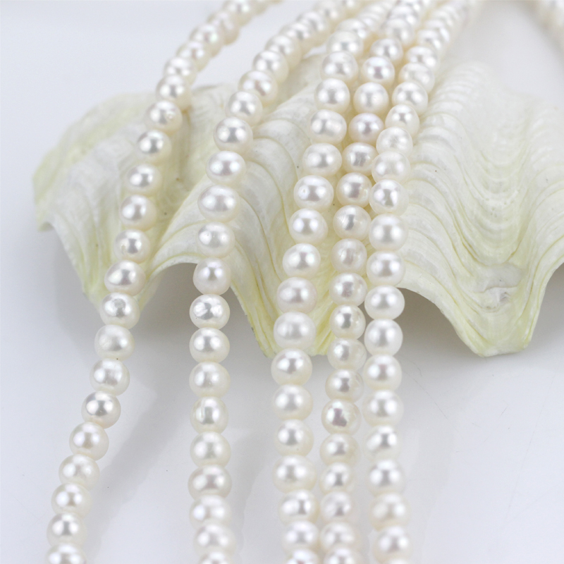 white cultured natural real freshwater pearl strand string beads wholesale loose round fresh water freshwater pearl